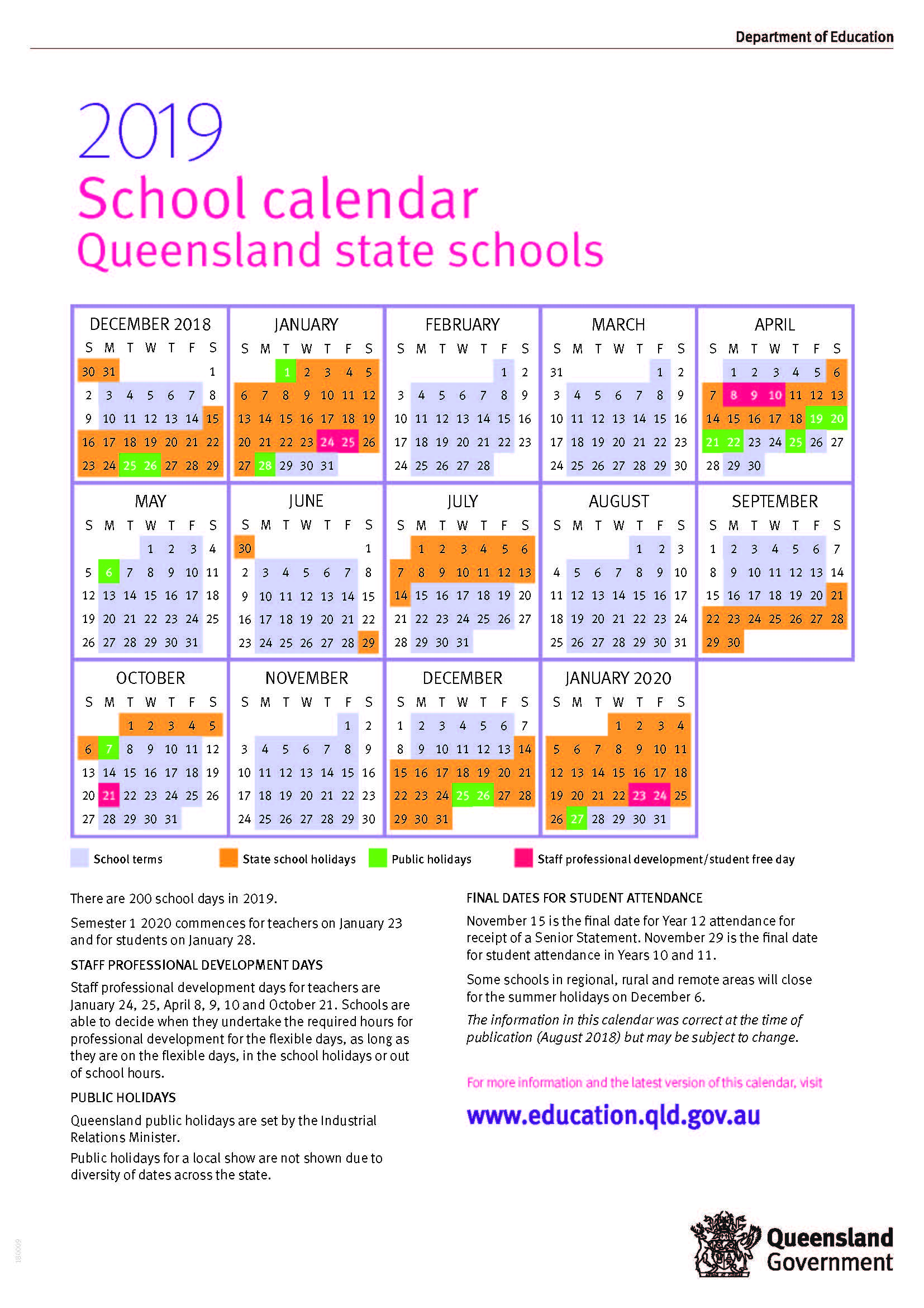 2019 queensland state school calendar